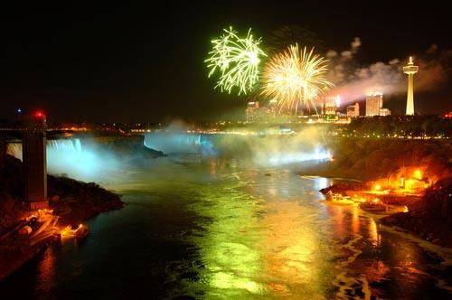 Passagem de ano em Niágara Falls, Canadá