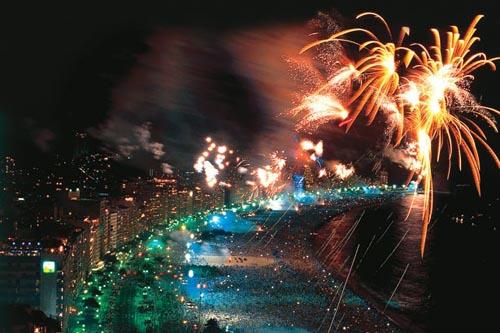 a Passagem de ano no Rio de Janeiro no Brasil